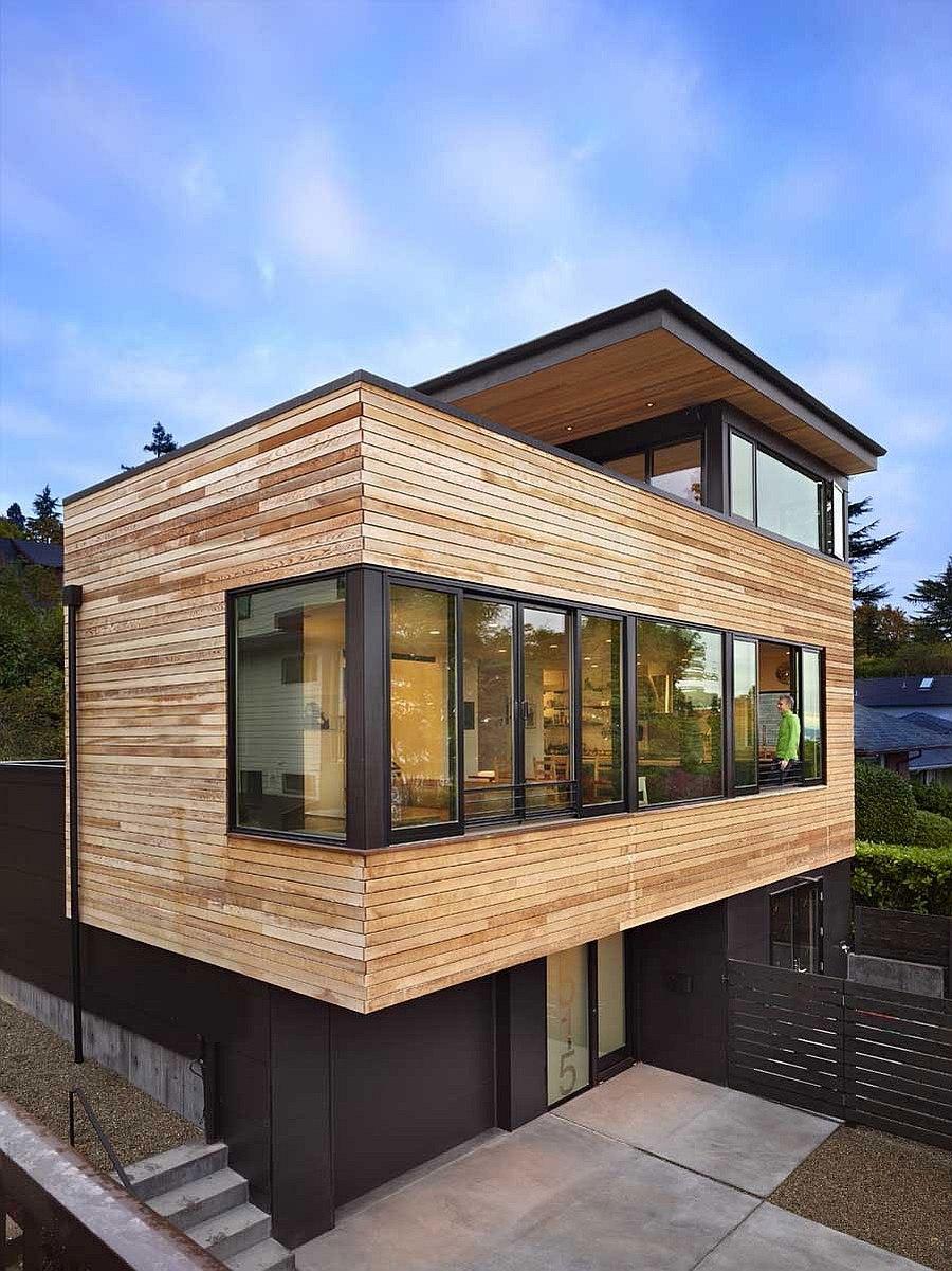 Отделка фасада Cycle House в Mount Baker натуральным деревом