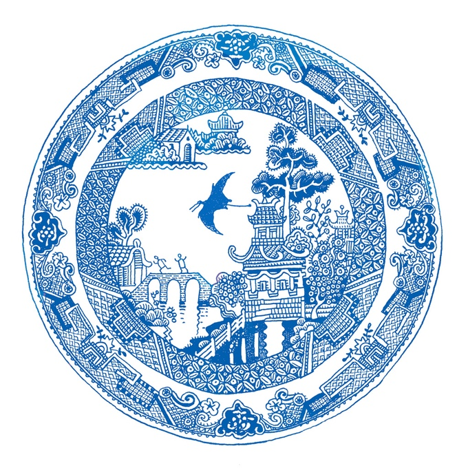 Дон Мойер: набор фарфоровых тарелок с расписными сценами забавных катастроф