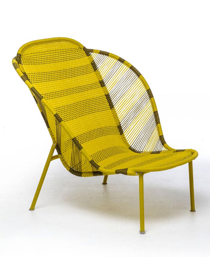 Дачная уличная мебель: ярко-жёлтое кресло-кушетка - Фото 1