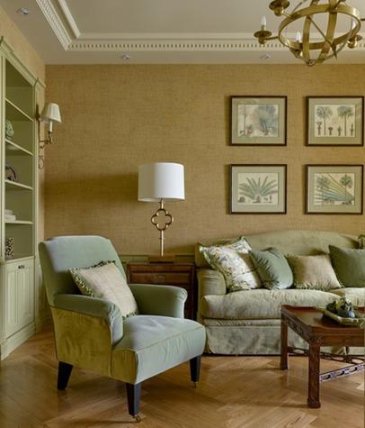Оформление стен в гостиной в стиле фьюжн