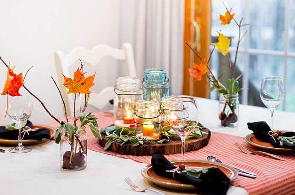 Осенние листья как элемент декора в сервировке стола