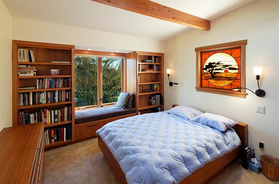 Украшение интерьера спальни книгами