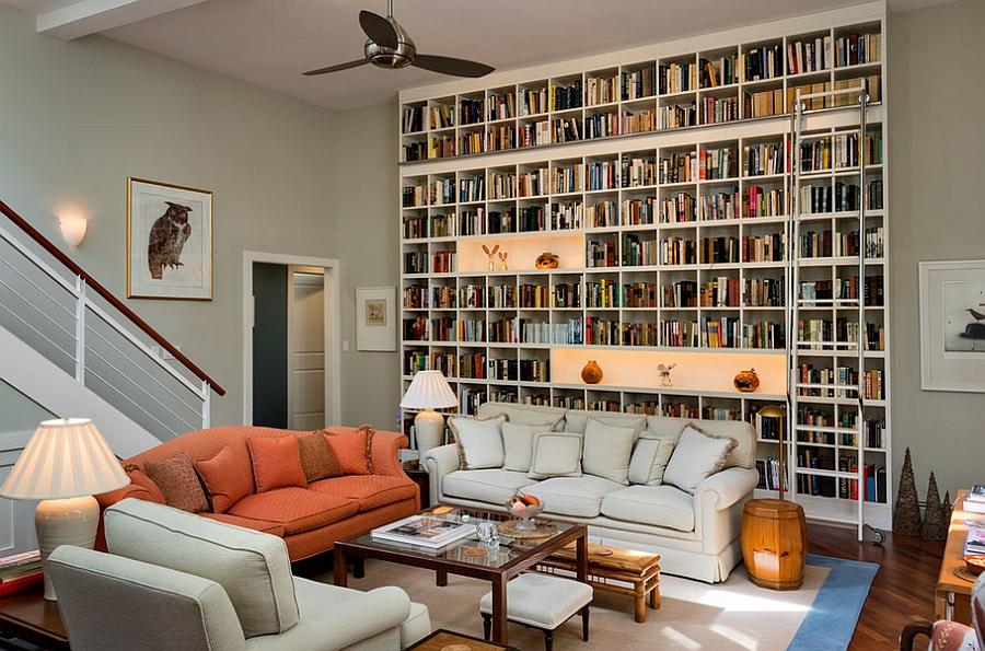Шкаф от пола до потолка - украшение гостиной