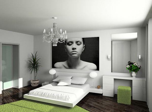Махровый ковер и пуфик – создают эффект зеленой лужайки в спальне