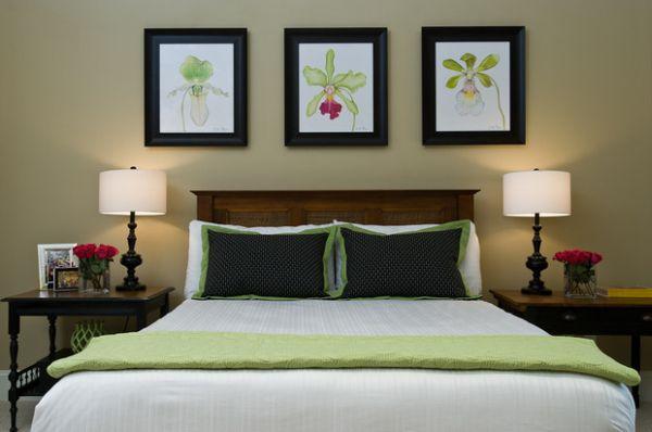 Нежное использование лаймовых тонов в оформлении спального места.