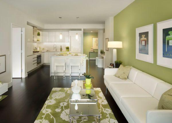 Расслабляющий дизайн комнаты в нежно-белых и лаймовых тонах.