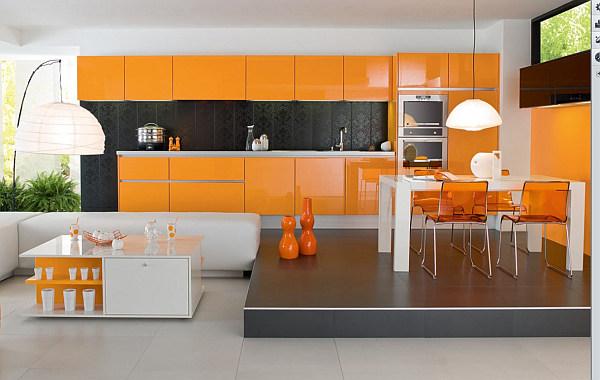 Кухонная мебель оранжевого цвета