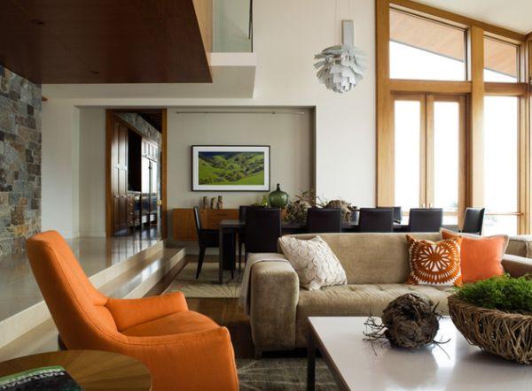 Красивое оформление интерьера с оранжевыми акцентами