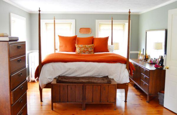 Роскошное оформление интерьера с оранжевыми акцентами