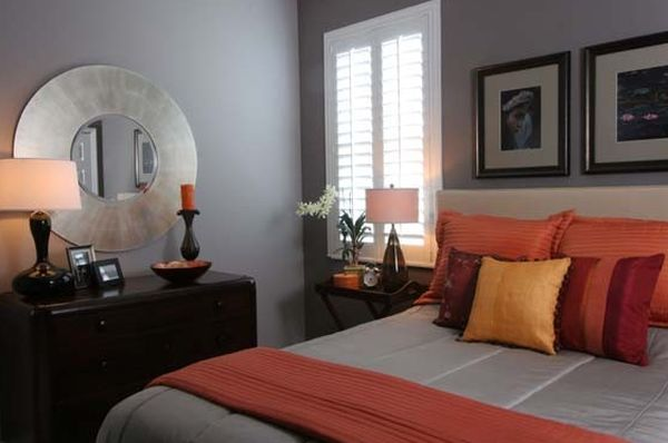 Чудесное оформление интерьера с оранжевыми акцентами