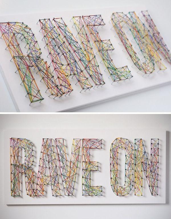 Надпись из разноцветных нитей