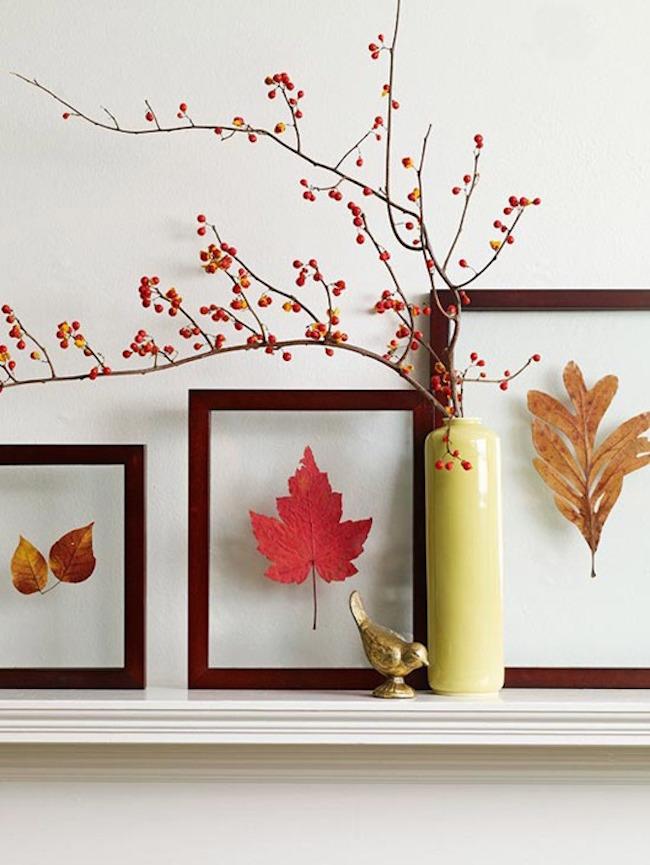 Декор осенними листьями - листочки в рамках