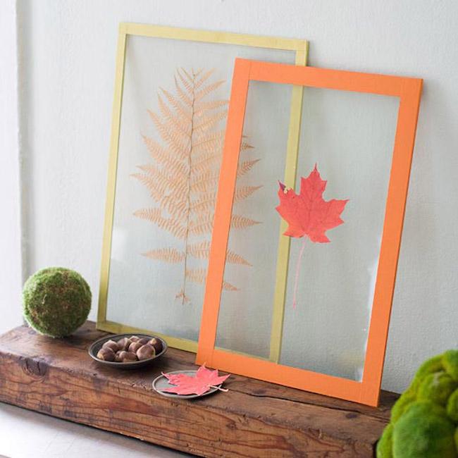 Декор осенними листьями - потрясающие листочки в рамках