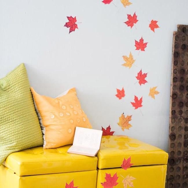 Декор осенними листьями - великолепный декор стен