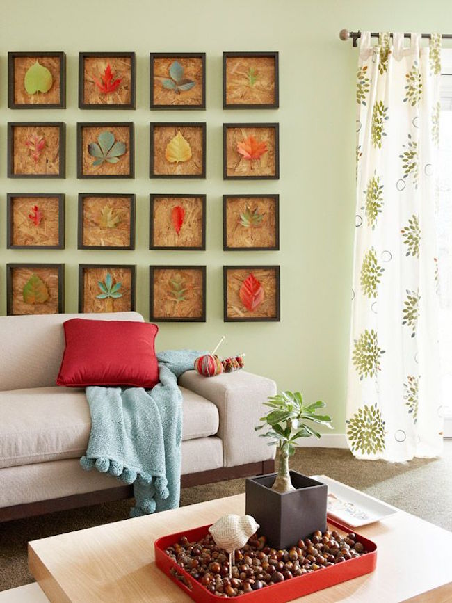 Декор осенними листьями - панно из картин