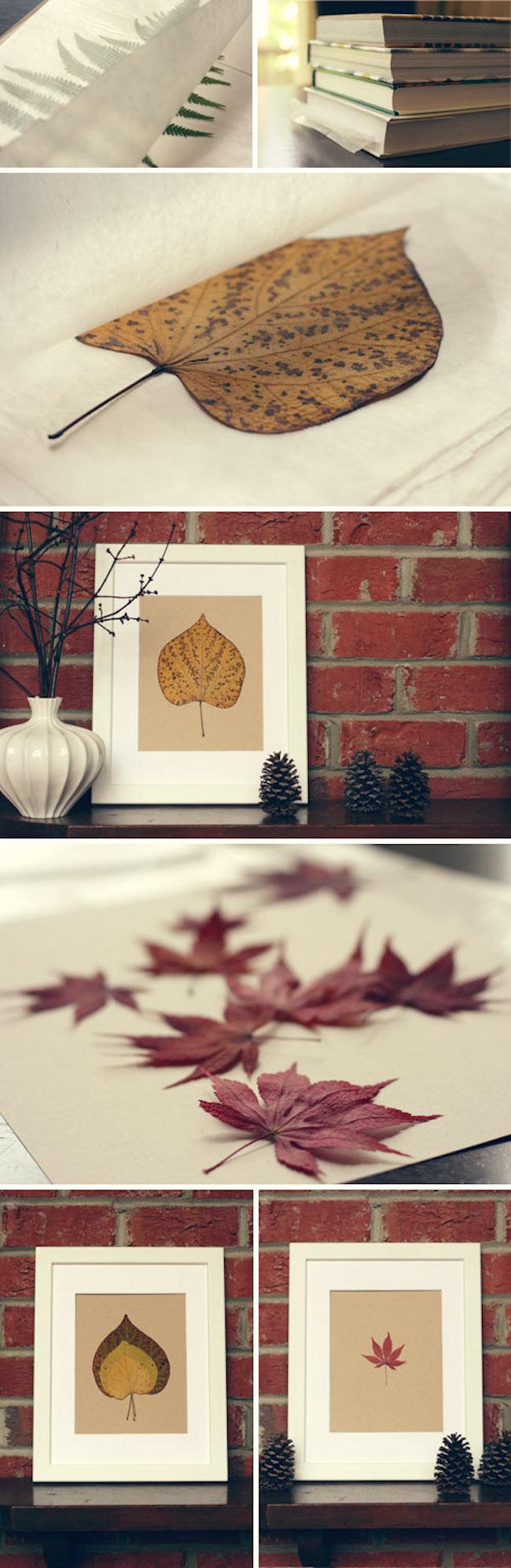 Декор осенними листьями - украшение листьями из гербария