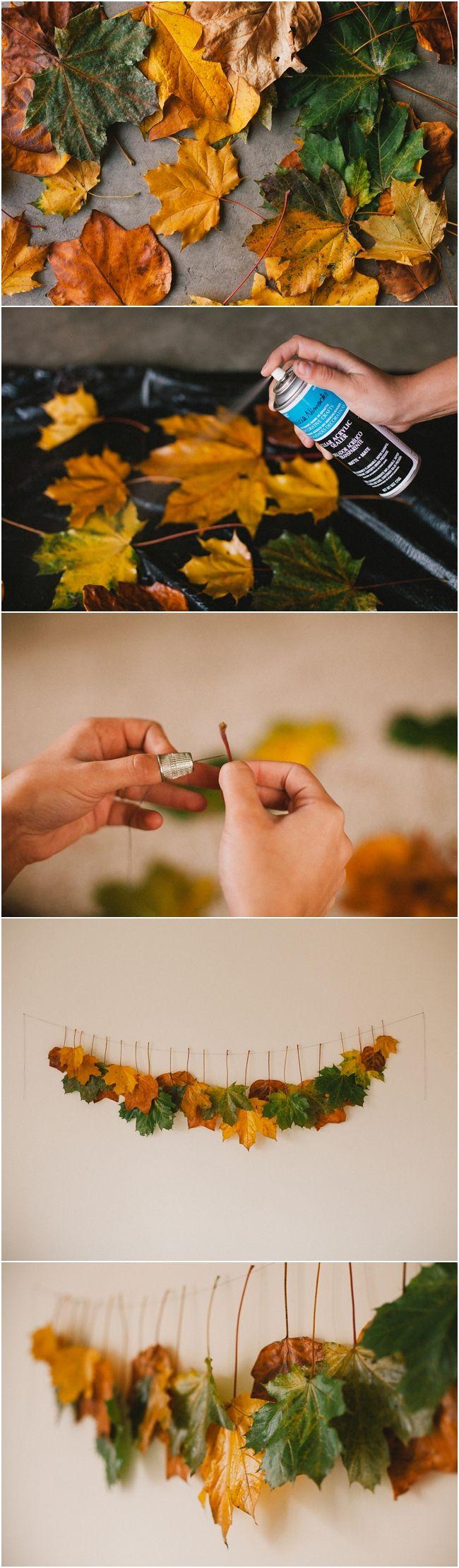 Декор осенними листьями - использование клея в декоре
