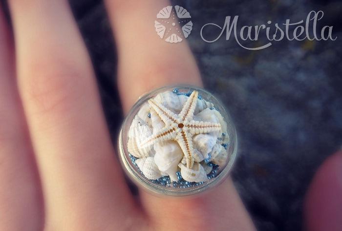 Морская звезда с ракушками и бисером