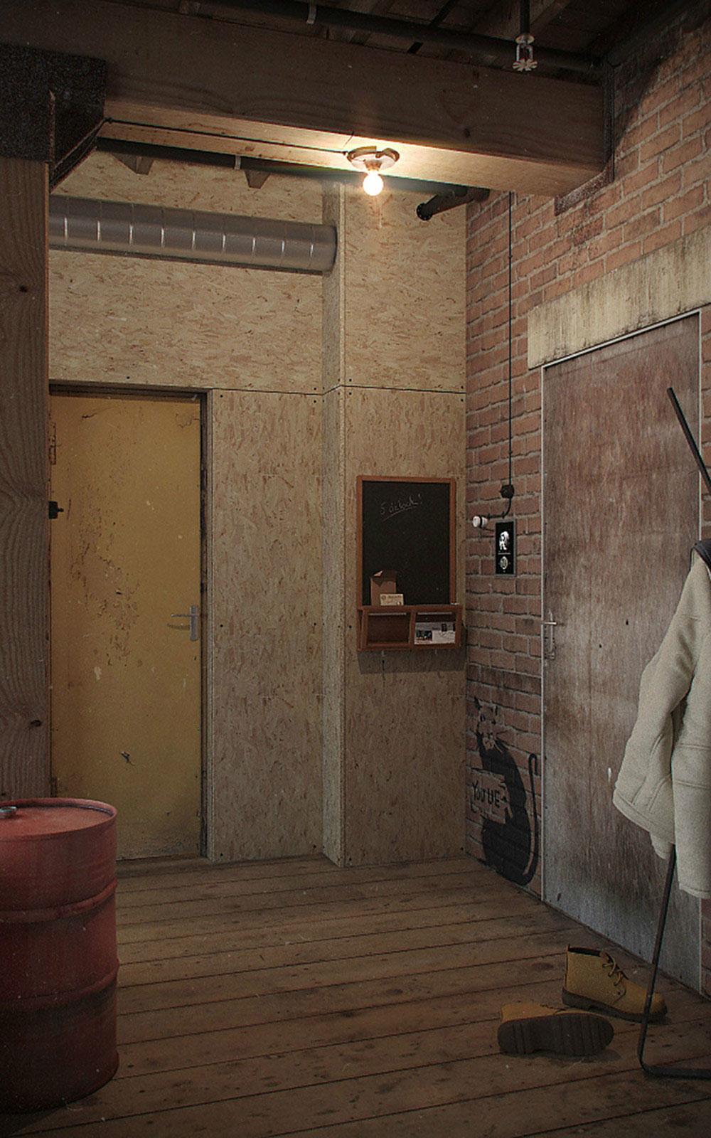 Кирпичная кладка в квартире-студии