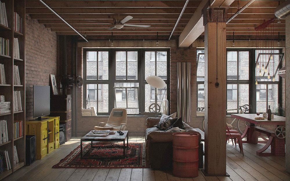 Деревянные колоны в квартире-студии