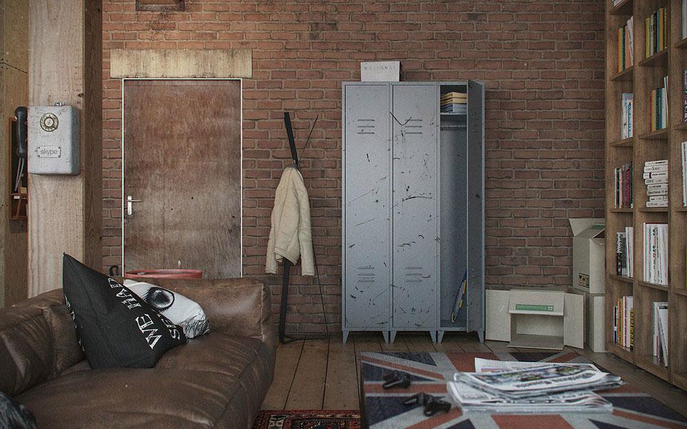 Металлический шкаф в квартире-студии