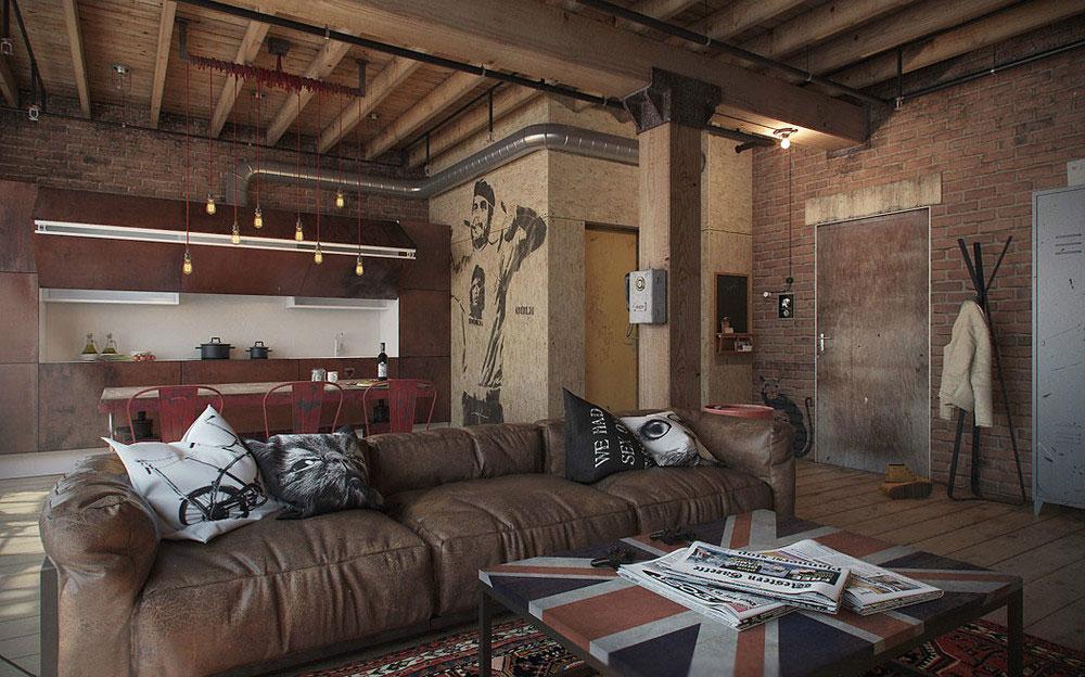 Кожаный диван в квартире-студии