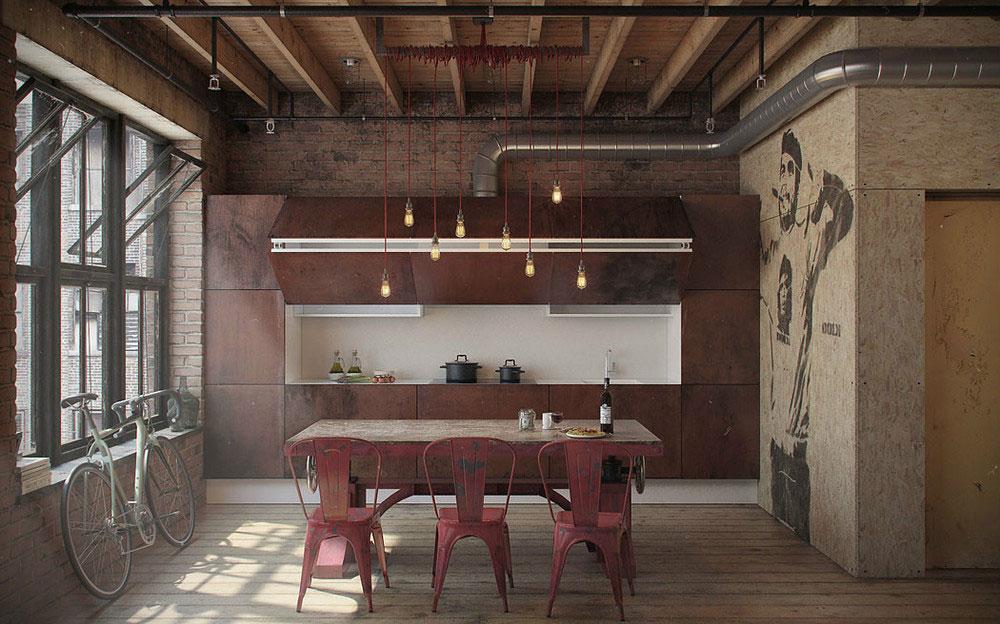 Кухня со столовой в квартире-студии
