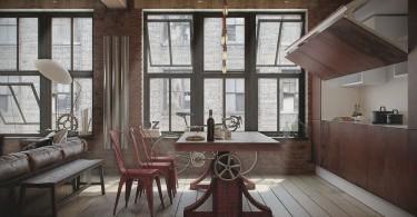 Стильное оформление помещения в стиле лофт