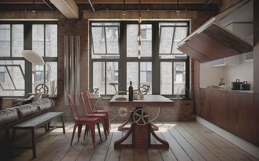 Красивый интерьер кухни со столовой в квартире-студии