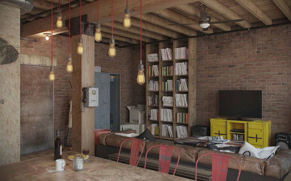 Стеллаж с книгами в квартире-студии