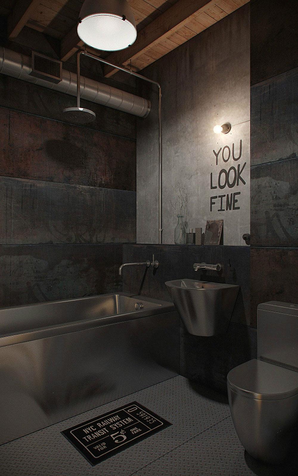 Бетонные стены в интерьере ванной