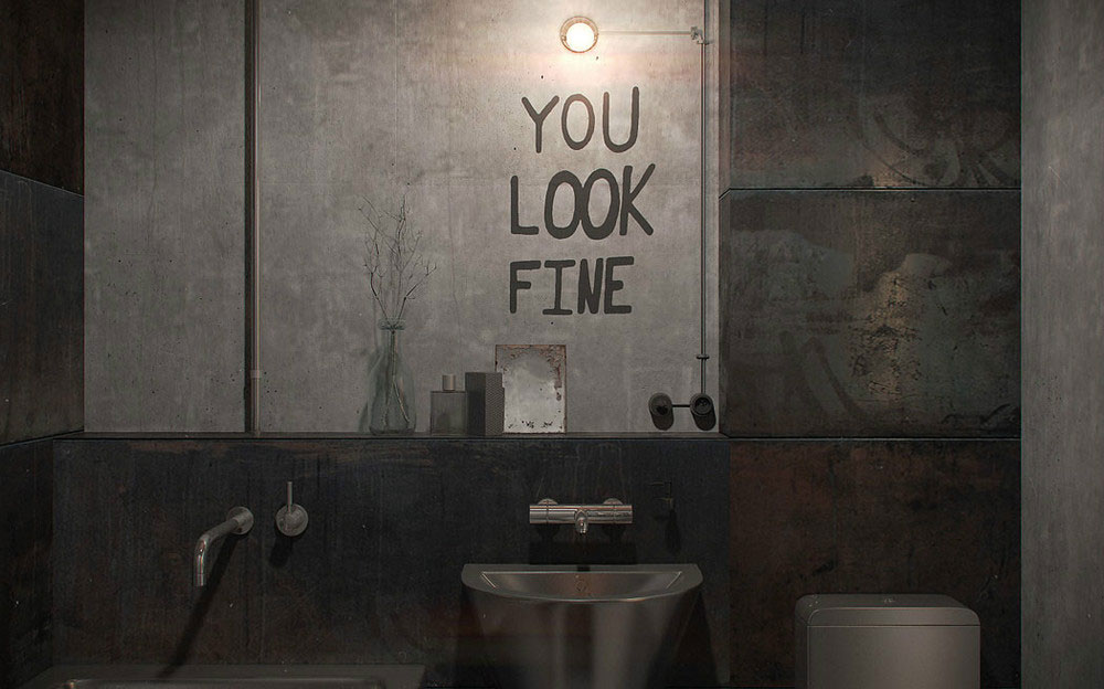 Надпись на бетонной стене в ванной