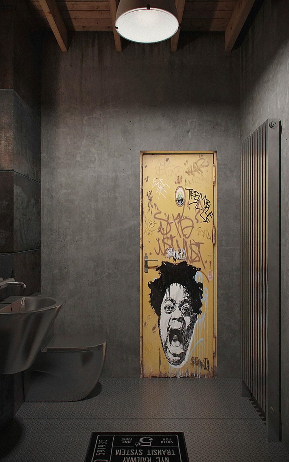 Металлическая дверь в ванной
