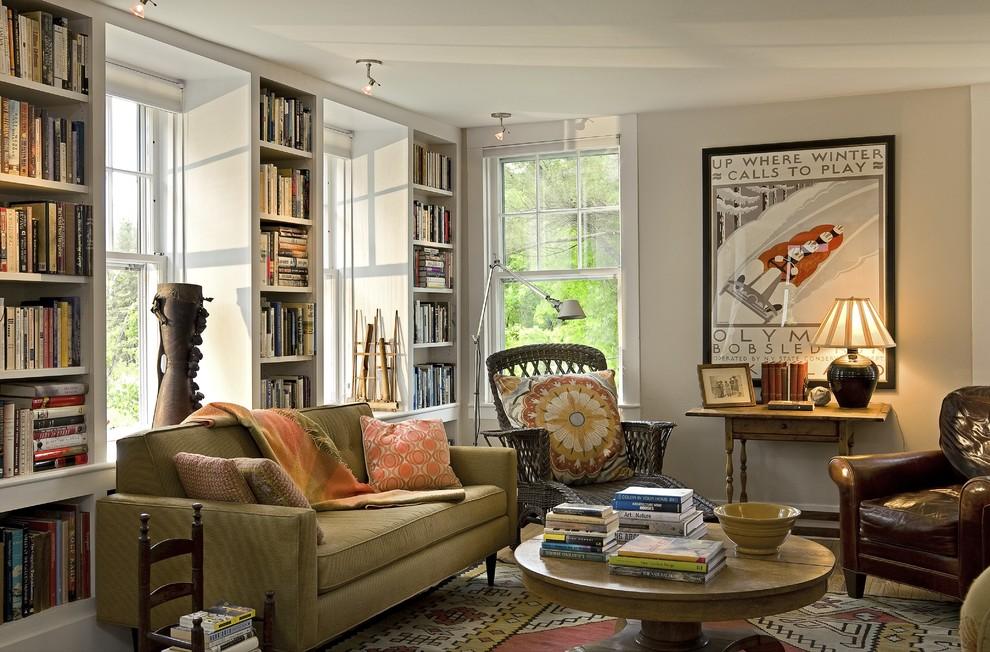 Деревенский стиль в дизайне интерьеров домов - библиотека в гостиной