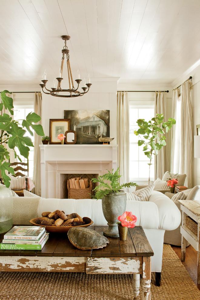 Деревенский стиль в дизайне интерьеров домов - живые растения и белый интерьер гостиной