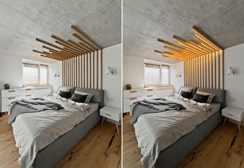 Деревянный декор стен в спальне