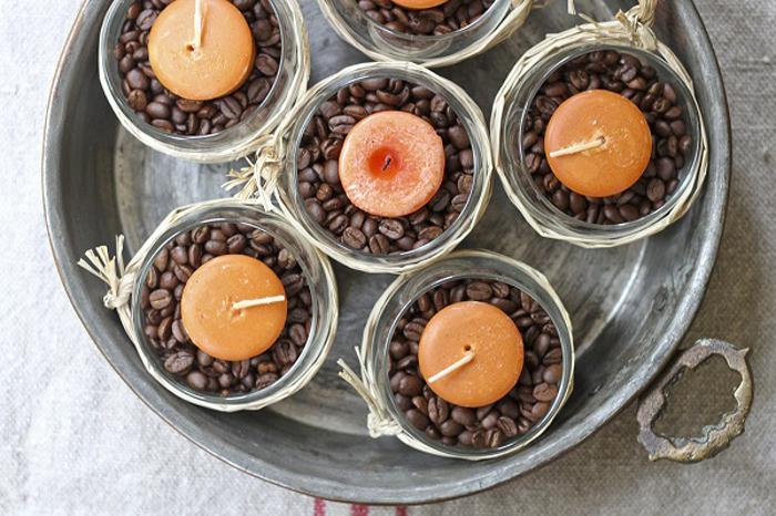 Очаровательные подставки под свечки с кофейными зернами