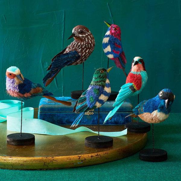 Игрушечные птички как предмет новогоднего декора