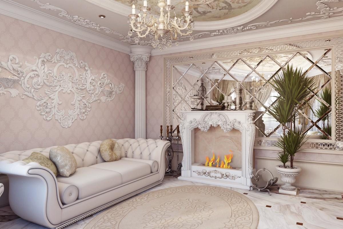 Дизайн интерьера барокко - роскошная гостиная