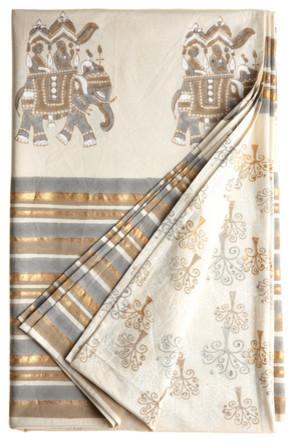 Дизайн скатерти с золотисто-серыми оттенками