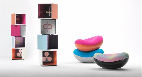 Дизайн мебели в стиле Мемфис: полки и кресла
