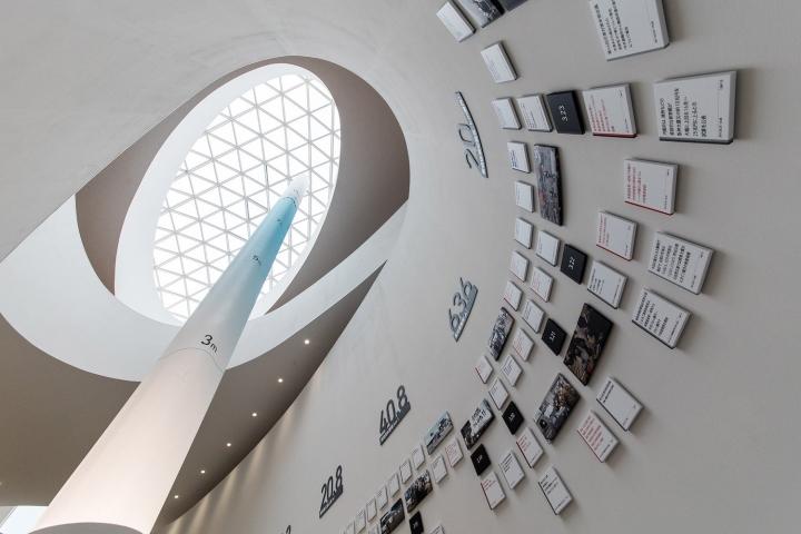 Множество табличек на стене в дизайне выставочного пространства