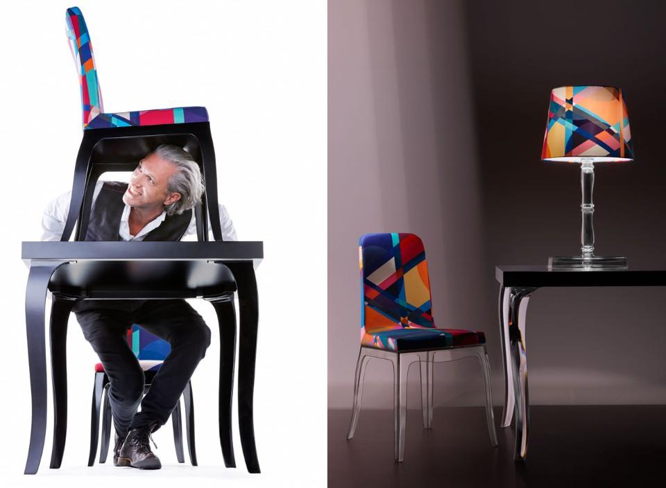 Стефано Джованнони: яркий декор лампы и стульев