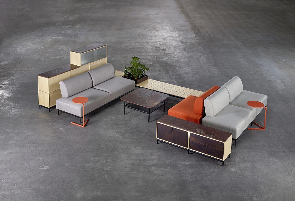 Дизайнерская мебель для офиса - сочетание серого и оранжевого. Фото 1