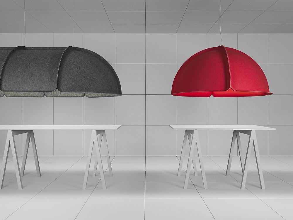Дизайнерская мебель для офиса - звуковой барьер красного и черного цвета