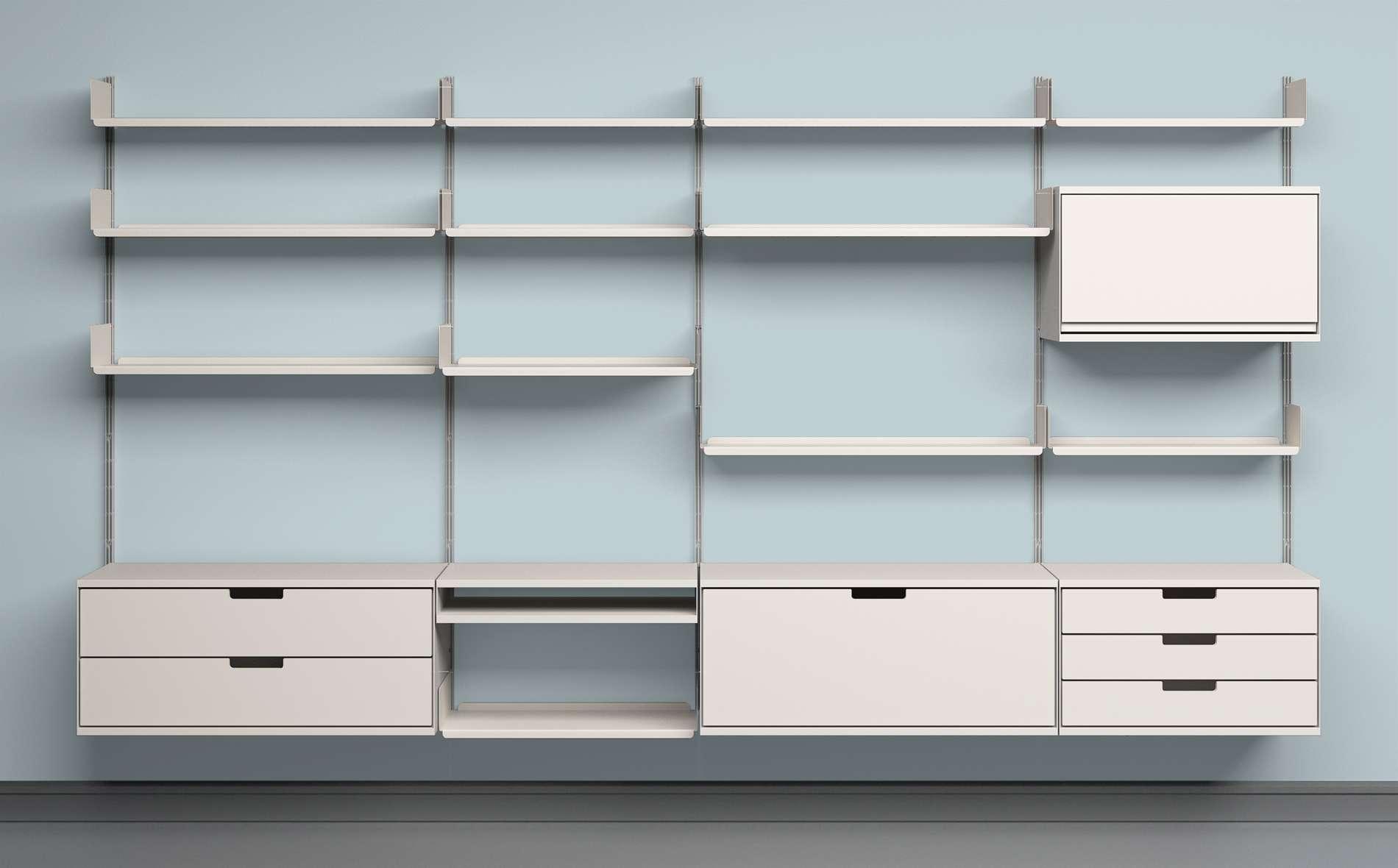 Дизайнерская мебель для офиса - стеллаж белого цвета