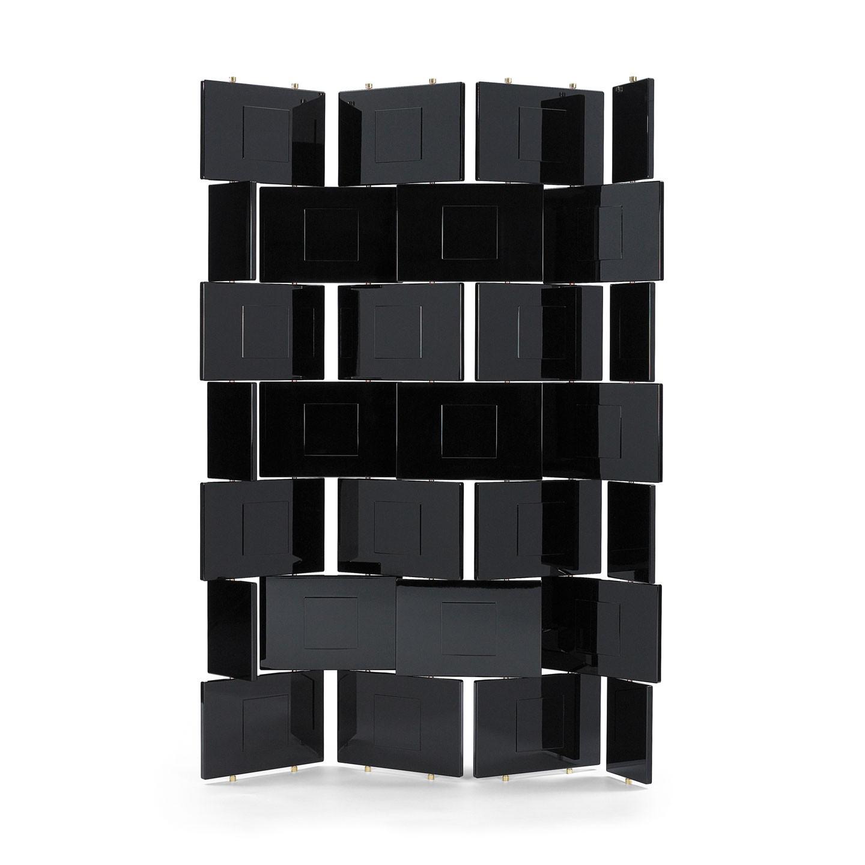 Дизайнерская мебель для офиса - лакированная черная перегородка