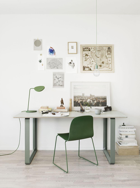 Дизайнерская мебель для офиса в стиле минимализм зеленого и серого цвета