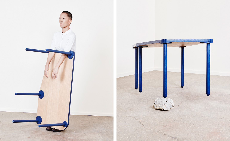 Работа дизайнерского дуэта: синий стол