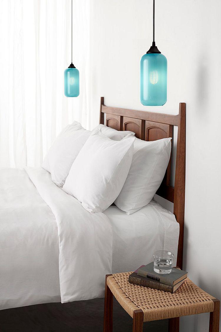 Дизайнерские подвесные светильники в спальне - контуры бутылок